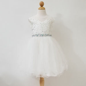 OFF WHITE Sequin Embroidery Lace Tulle Girl Dress